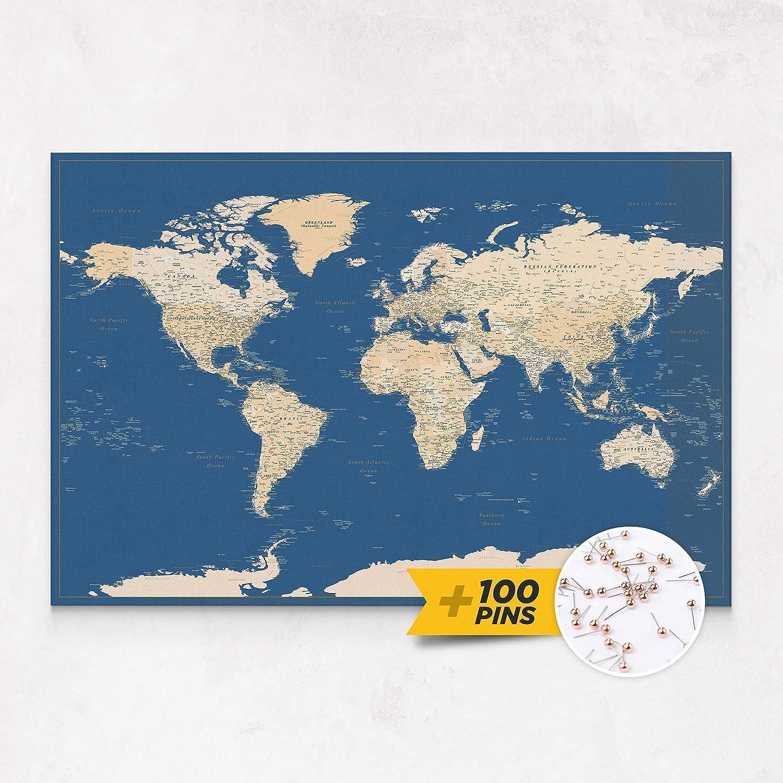 - Dunkelblau 3 Gr/ö/ßen zur Auswahl inkl. Zum Aufh/ängen bereites Wandbild Gemacht f/ür Pinnig Pinnwand-Weltkarte eingerahmte Leinwand Weltkarte Pinnwand mit 100 Push-Pins