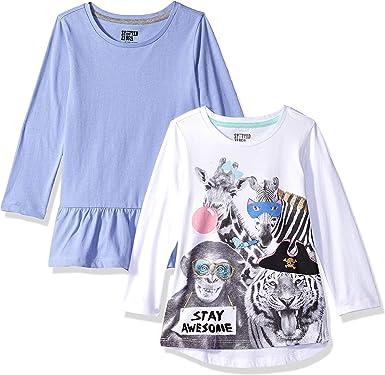 Spotted Zebra 2-Pack Long-Sleeve Novelty T-Shirts Bambina Pacco da 2