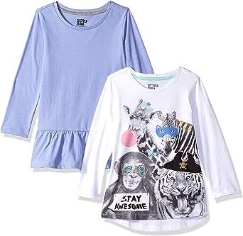 Spotted Zebra Girls GSZ45084FL18/ GSZ45085FL18 Girl's 2-Pack Long Sleeve Tunic Long Sleeve Shirt - Multi
