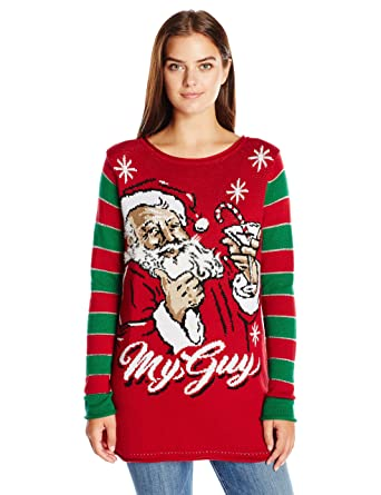Ugly Christmas Sweater Company Women s My Kind of Guy Santa Sweater at  Amazon Women s Clothing store  cf8264add