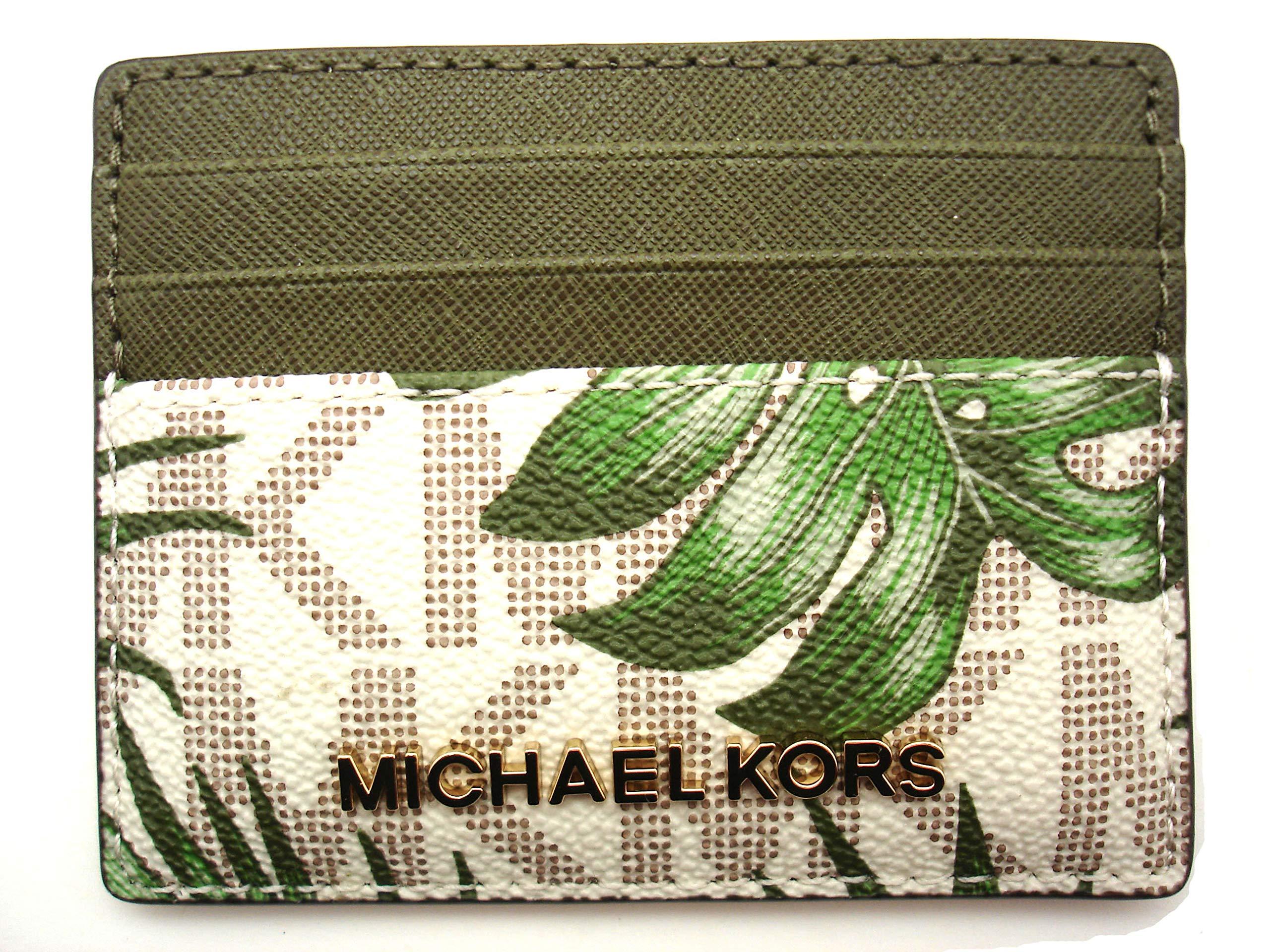 quality design f4a5e a6a63 MICHAEL Michael Kors Jet Set Travel LG Leather Card Holder Case  (Vanilla/Olive MK Signature)