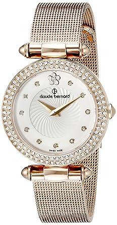 Claude Bernard Women's 20504 37RPM APR2 Dress Code Analog Display Swiss  Quartz Rose Gold Watch