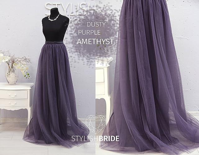 979411e8 Amazon.com: Amethyst Dusty Purple Long Tulle Skirt Casual Floor ...