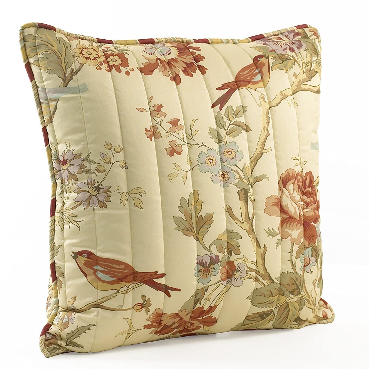 Waverly 11396020X020PPY Charleston Chirp 20-Inch by 20-Inch Square Quilted Decorative Pillow