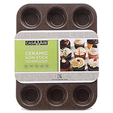 casaWare Ceramic Coated NonStick 12 Cup Muffin Pan (Brown Granite)