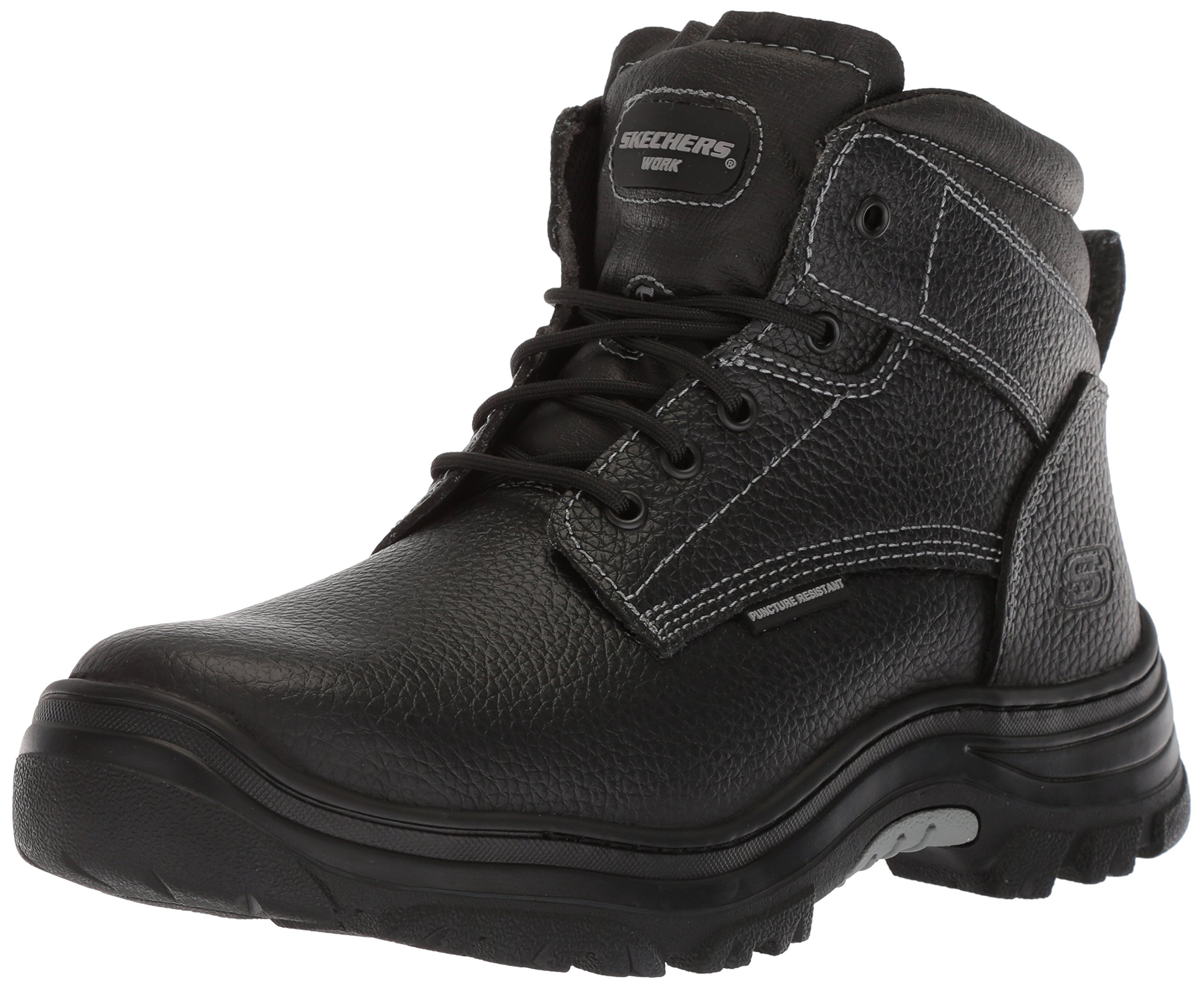 Skechers Work Men's Burgin-Tarlac Industrial Boot,Black Embossed Leather,10.5 M US