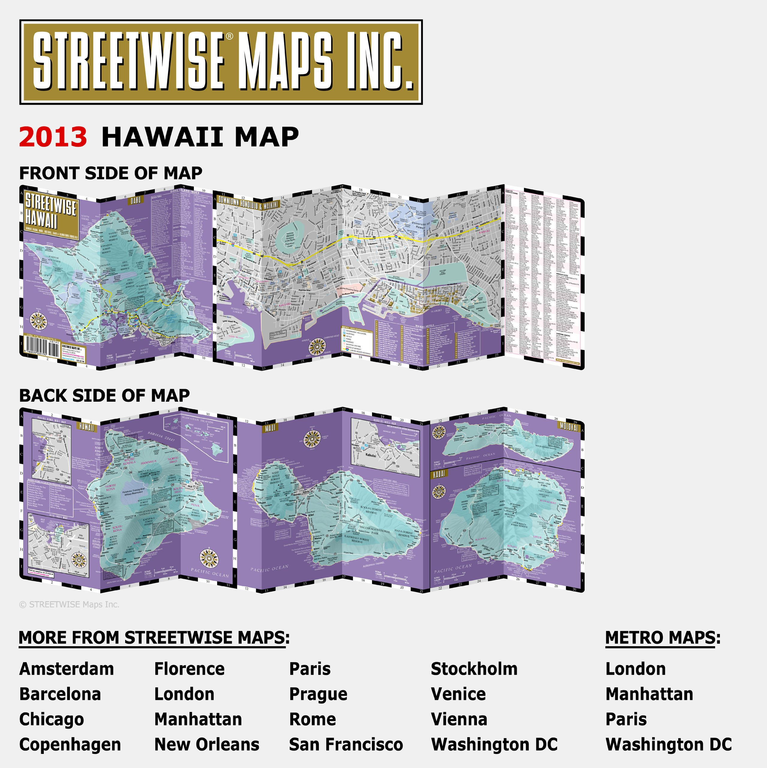 Streetwise Hawaii Map Laminated State Road Map Of Hawaii - Hawaii road map
