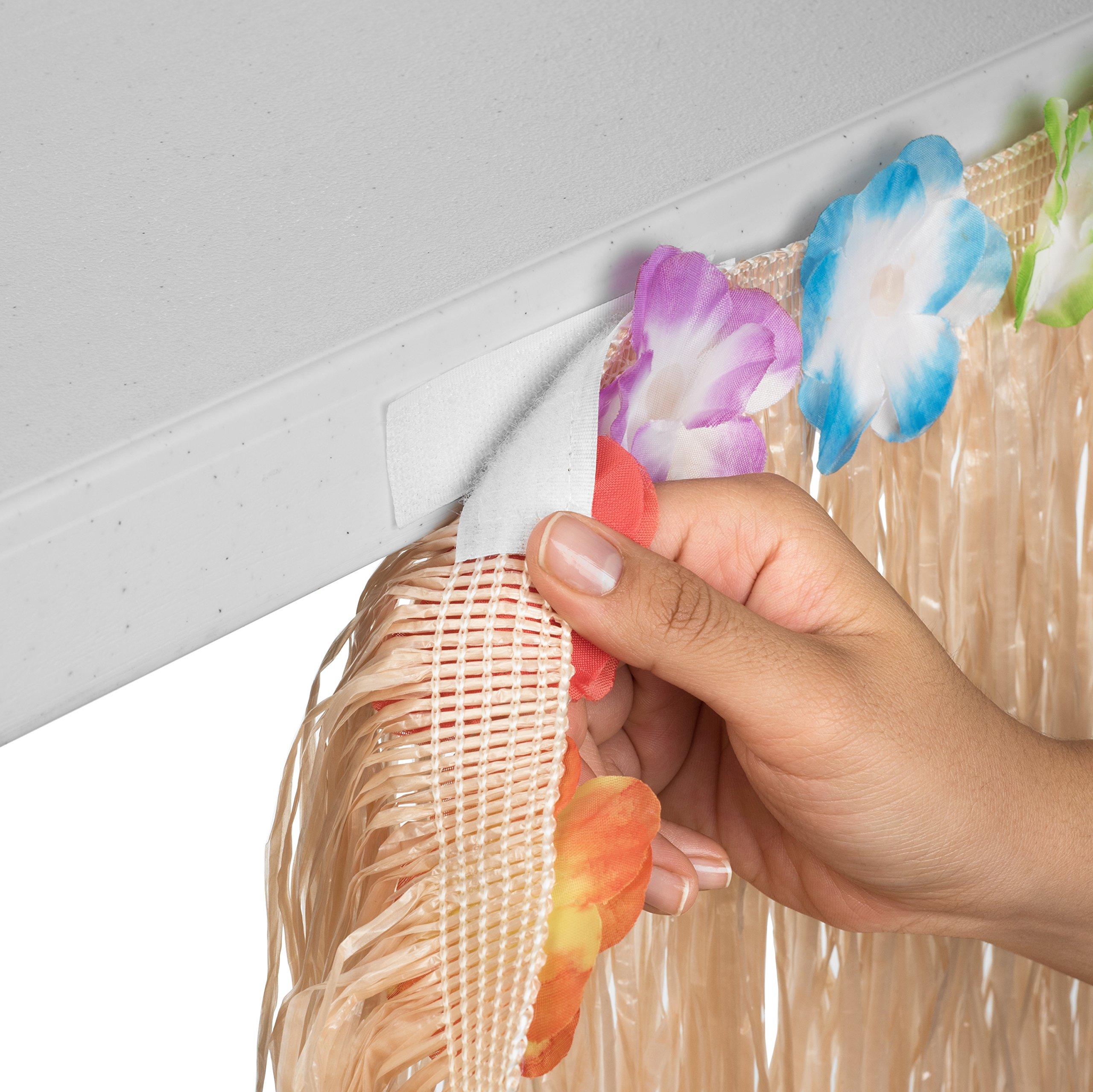 Hawaiian Luau Grass Table Skirt: BONUS 12 Hibiscus Flowers | Includes Adhesive | Perfect Beach, Tiki, Tropical, Island, Party, Luau Decoration 9ft by Luau Essentials (Image #4)