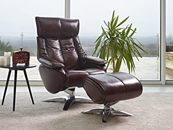 the alpha luxurious leather recliner swivel chair footstool with