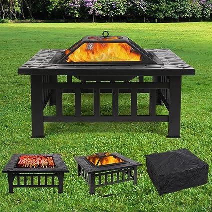 femor Feuerstelle mit Grillrost 81x81x45cm, Multifunktional Fire Pit für  Heizung/BBQ, Garten Terrasse Feuerschale,Quadratisch Metall Feuerkorb mit  ...