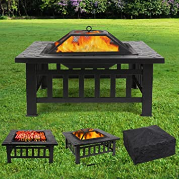 FEMOR Feuerstelle mit Grillrost 81x81x45cm, Multifunktional Fire Pit ...
