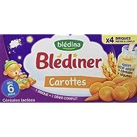 Blédina Blédîner Céréales Lactées Carottes dès 6 mois 4 x 250 ml - Pack de 3