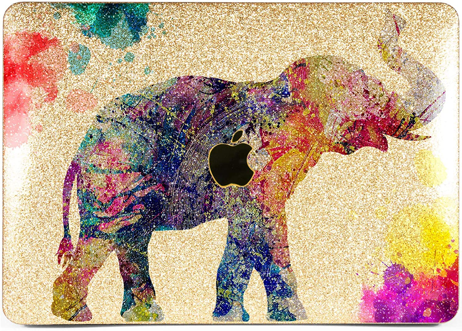 Lex Altern Glitter Case for Apple MacBook Air 13 inch Pro Mac 15 Retina 12 11 2020 2019 2018 2017 Watercolor Pattern Shiny Gold Glossy Nature Sparkly Cover Pink Hard Rhinestone Elephant Laptop Crystal