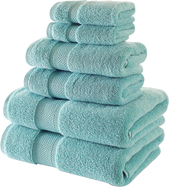 Bagno Milano Turkish Cotton Hotel Spa Towel Set, 100% Non-GMO Turkish Cotton | Ultra Soft Plush Absorbent Towels (Mint Green, 6 Pcs Towel Set)