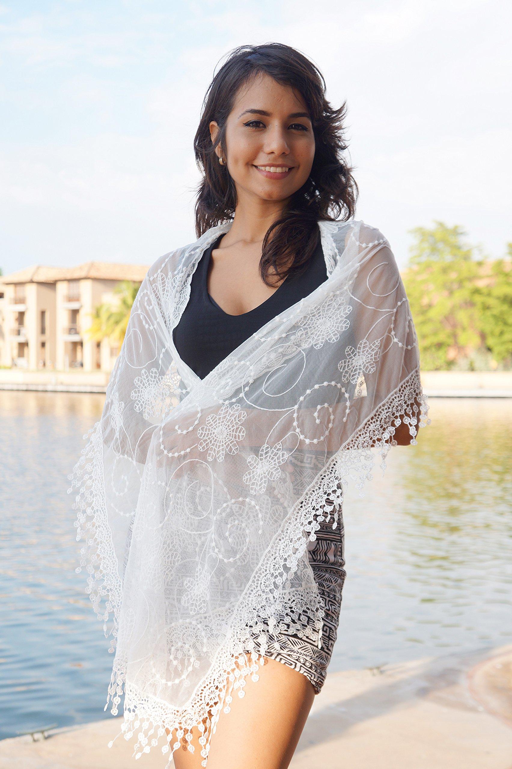 Women's lightweight Feminine lace teardrop fringe Lace Scarf Vintage Scarf Mesh Crochet Tassel Cotton Scarf for Women (WHITE) by Tan's (Image #2)