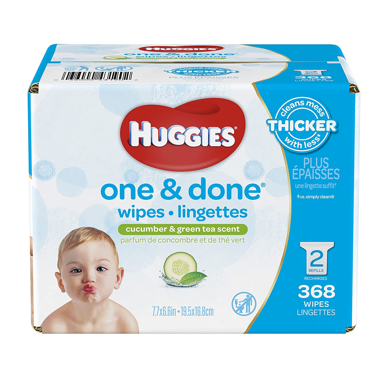 HUGGIES ONE & DONE Cucumber and Green Tea Scented Baby Wipes, Hypoallergenic (6X Soft Packs, 336 Count) 10036000431961