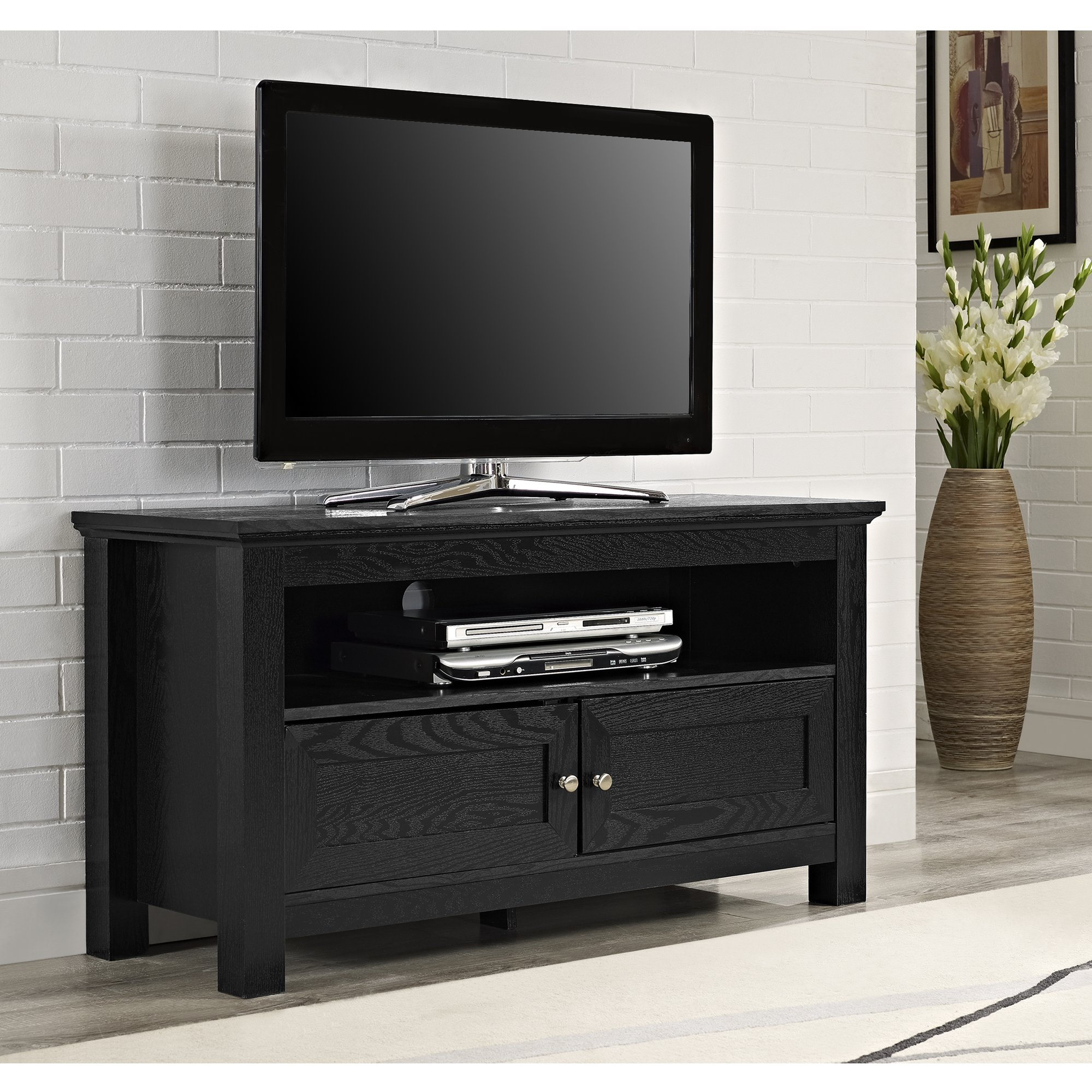 Walker Edison 44 inches Cortez TV Stand Console, Black