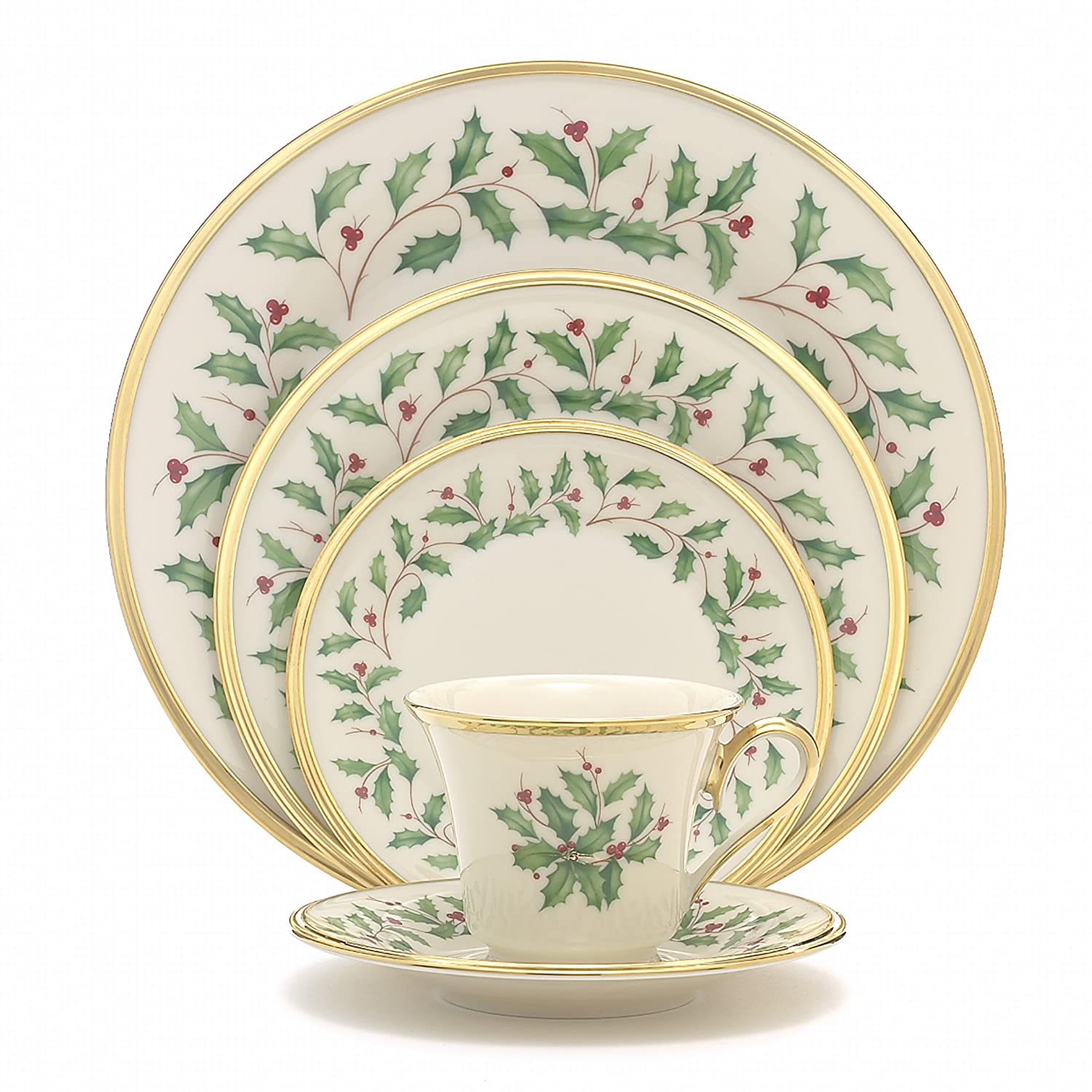 Amazon.com Lenox Holiday 5-Piece Place Setting Ivory Dinnerware Sets Kitchen u0026 Dining  sc 1 st  Amazon.com & Amazon.com: Lenox Holiday 5-Piece Place Setting Ivory: Dinnerware ...