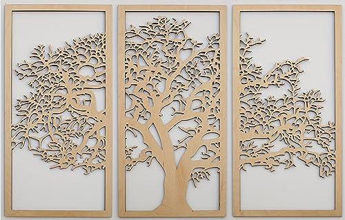 Skyline Workshop Tree of Life Maple – 3 Panel Wood Wall Art – Beautiful Living Room Decor – Modern Art