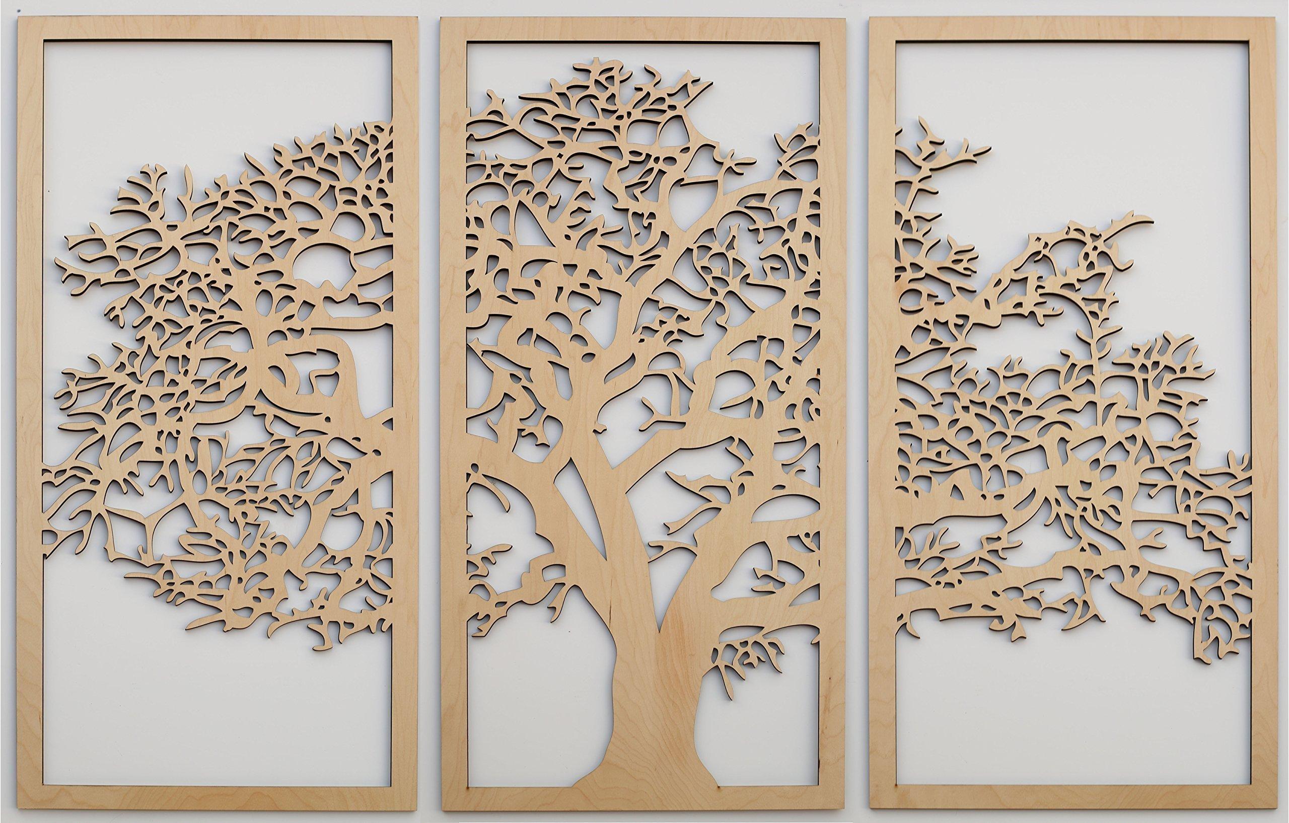 Skyline Workshop Tree of Life 3D Maple - 3 Panel Wood Wall Art - Beautiful Living Room Decor