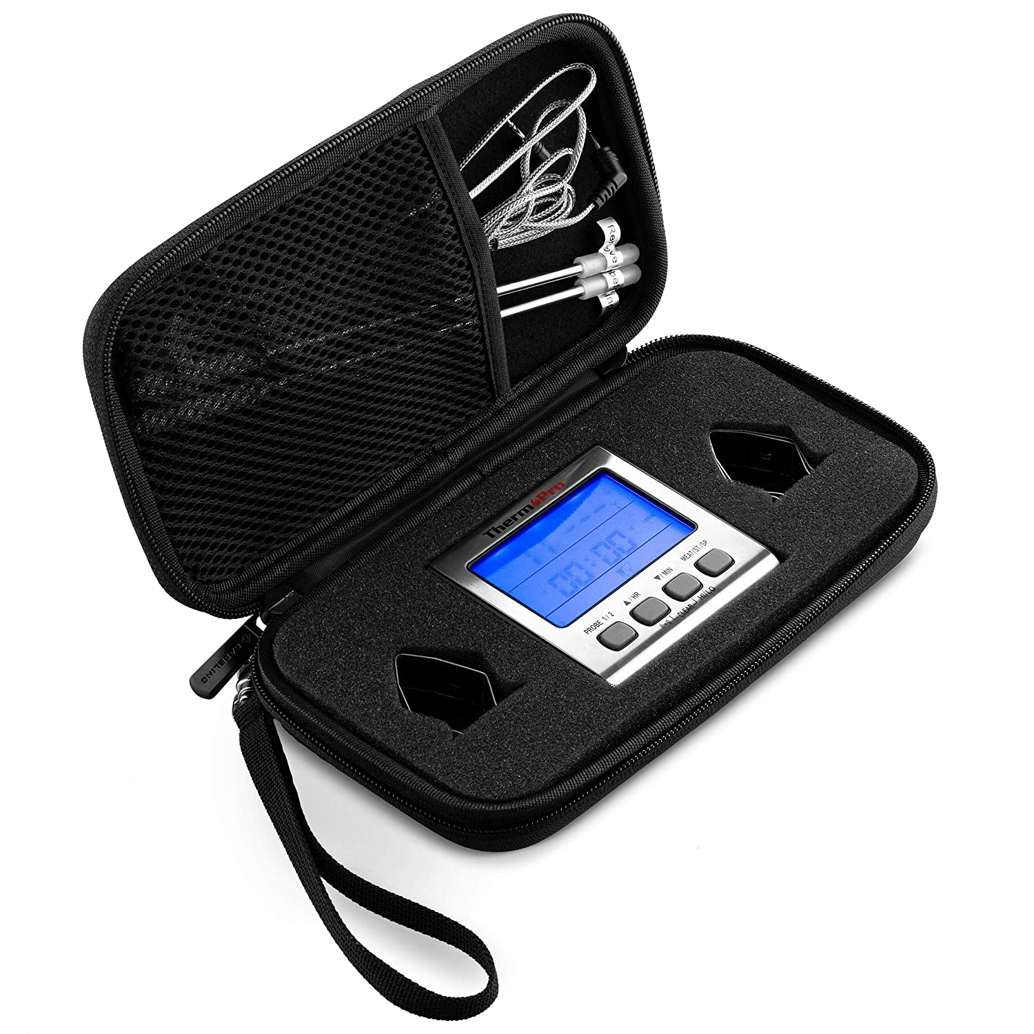 Caseling Hard Case Fits ThermoPro TP17 Dual Probe Digital Cooking Meat Thermometer Food Grill Thermometer - Hard Travel Carrying Zipper Case - Small Storage Clamshell Case Organizer