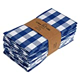 Urban Villa,Buffalo Check Plaid, Premium Quality, Dinner Napkins, 100% Cotton, Set of 12, Size 20X20 Inch, Blue/White Oversized Cloth Napkins with Mitered Corners, Ultra Soft, Durable Hotel Quality