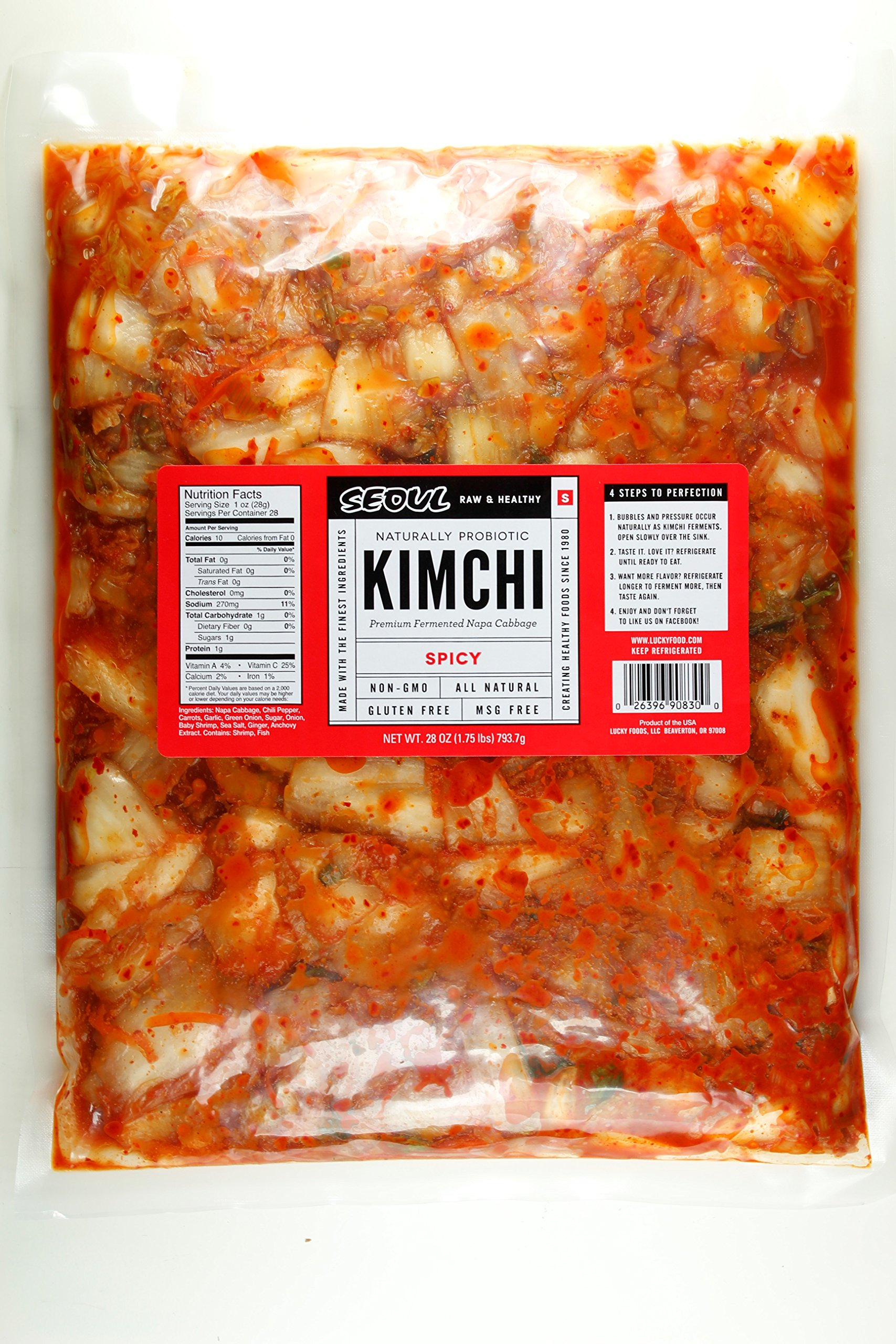Seoul Kimchi SPICY 28oz (1.75LB) Fresh & Healthy All Natural Gluten Free MADE UPON ORDER by Lucky Foods LLC