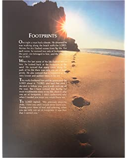 Amazoncom Footprints In The Sand Wall Quotes Canvas Banner