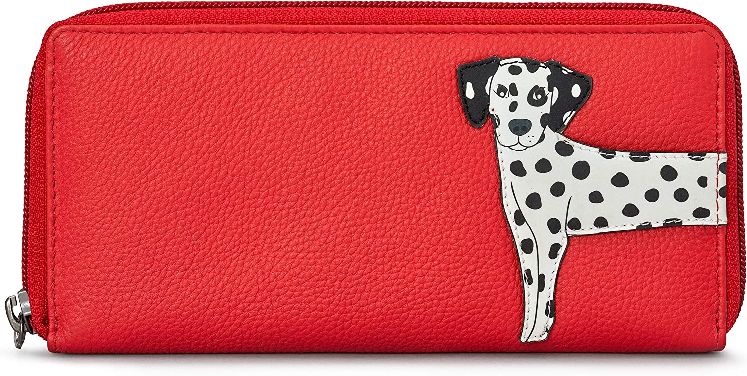 Ladies Red Pebble Grain Genuine Leather Zipper Coin Wallet Pouch Gift for Her