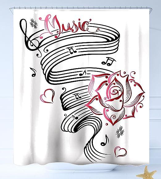 Haixia - Cortina de ducha de tela lavable, diseño con texto en ...