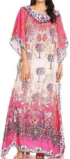 573dab5ff1c12 Sakkas 1820 - Jabari Women's Maxi Short Sleeve Long Beach Kaftan Dress Boho Loose  Gown -