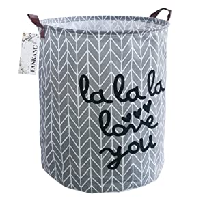 FANKANG Storage Bins, Nursery Hamper Canvas Laundry Basket Foldable with Waterproof PE Coating Large Storage Baskets for Kids Boys and Girls, Office, Bedroom, Clothes,Toys (Gray lala)