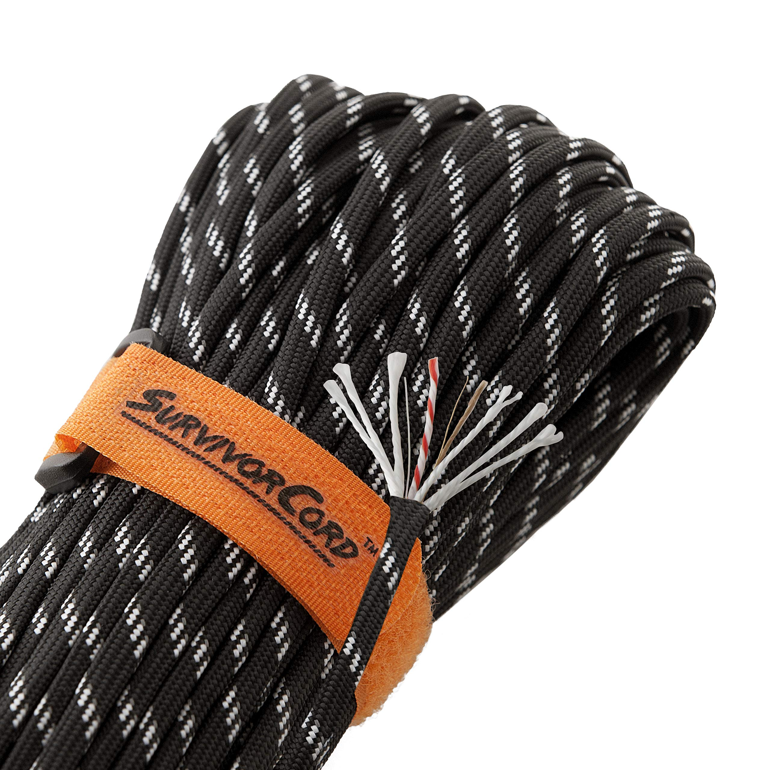 Titan SurvivorCord | Reflective Black | 103 Feet | Patented Military Type III 550 Paracord/Parachute Cord (3/16'' Diameter) with Integrated Fishing Line, Fire-Starter, and Utility Wire. by Titan Paracord