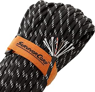 620 LB SurvivorCord, Reflective/Glow-in-The-Dark | The Original Patented Type III Military 550 Paracord/Parachute Cord with Integrated Fishing Line, Multi-Purpose Wire, and Waterproof Fire Tinder.