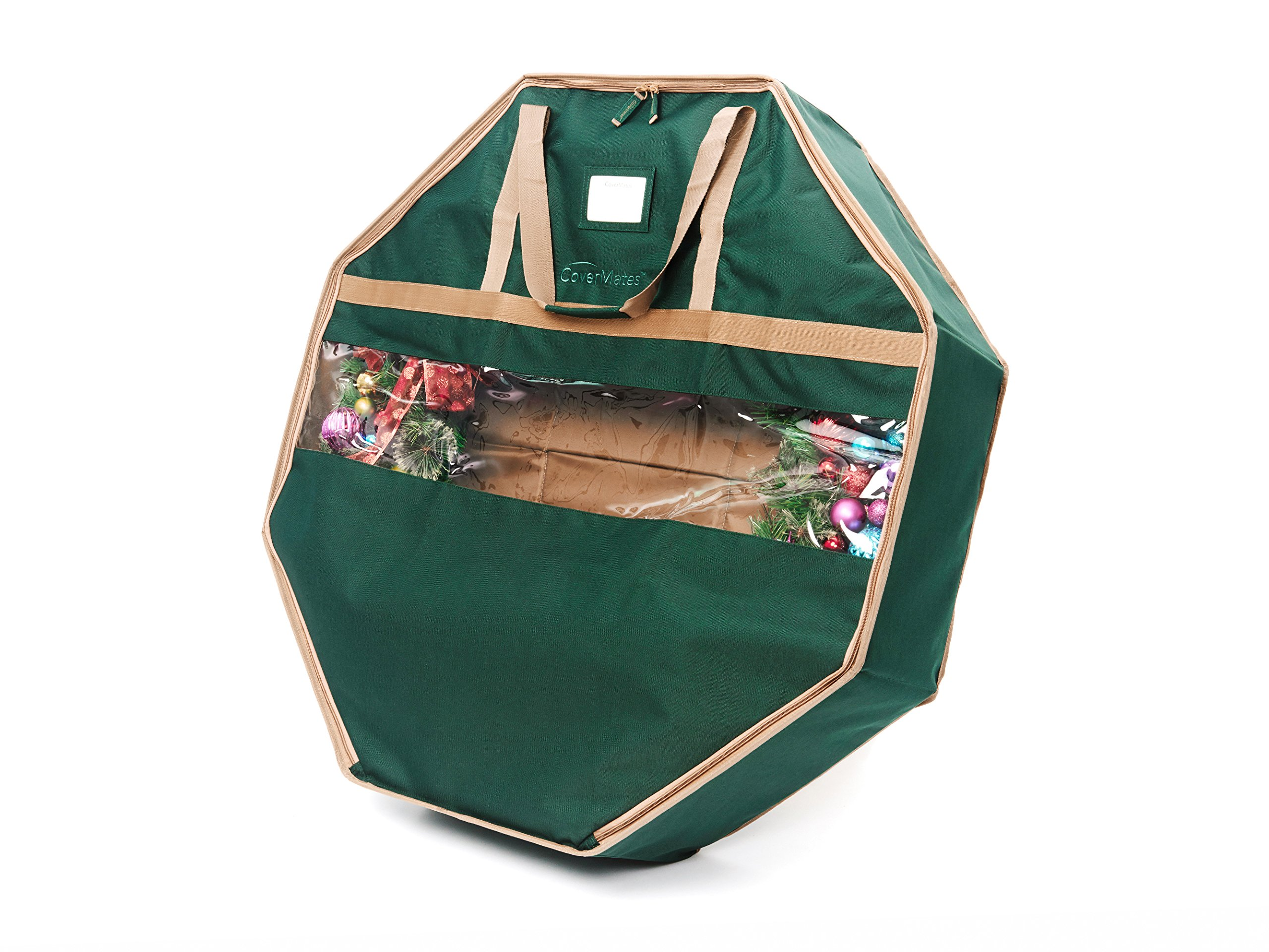 CoverMates – 36'' Holiday Structured Wreath Storage Bag – 3 Year Warranty- Green