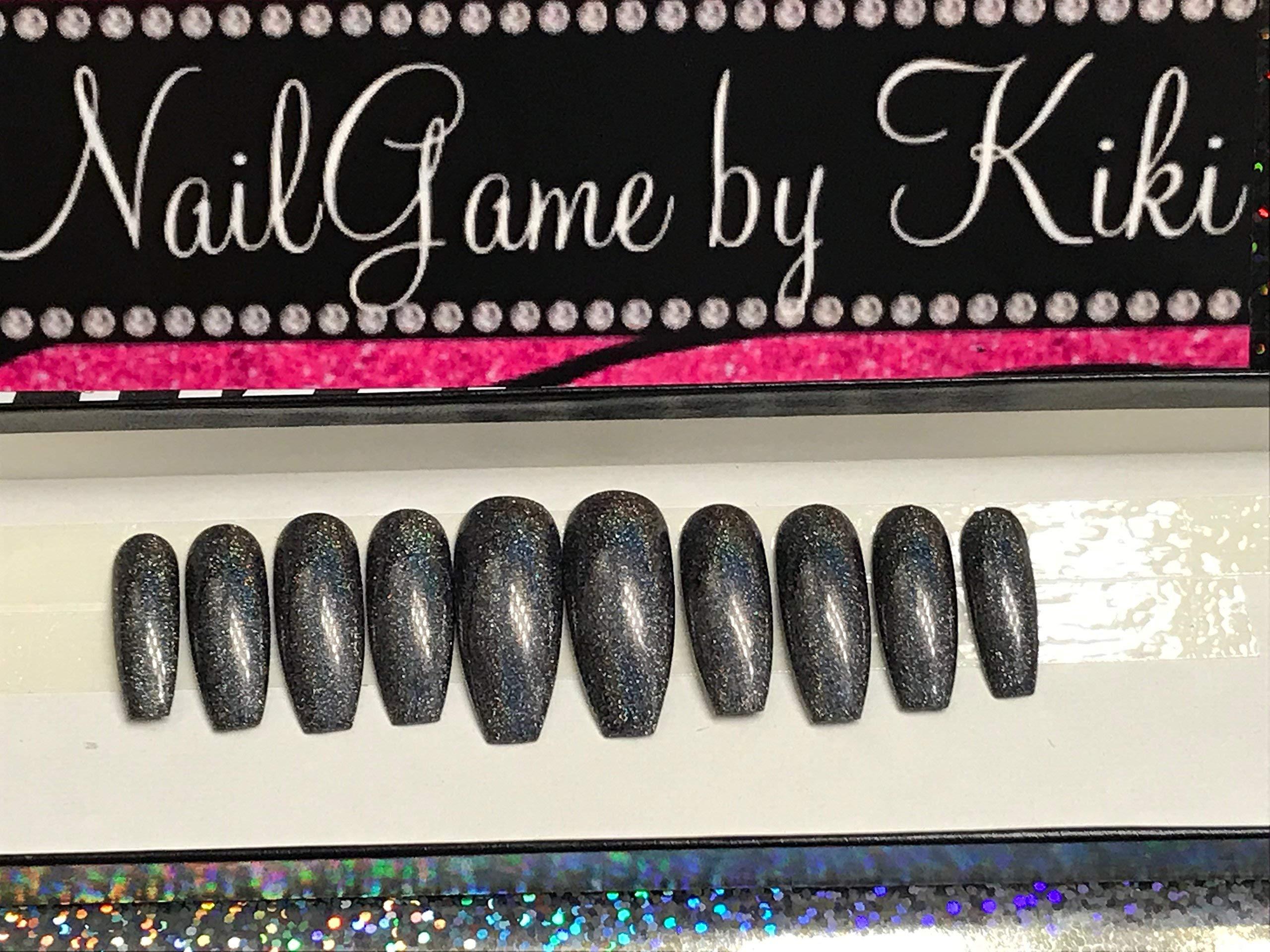 Holo Dark Gray Hand Designed Press On Nails