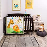 Cocoon Luxurious Zoo Baby Crib Bedding Set for Boys and Girls | Gender-Neutral Jungle Safari | 3-PC Nursery Set with Fitted Sheet, Comforter & Skirt (Set of 3)