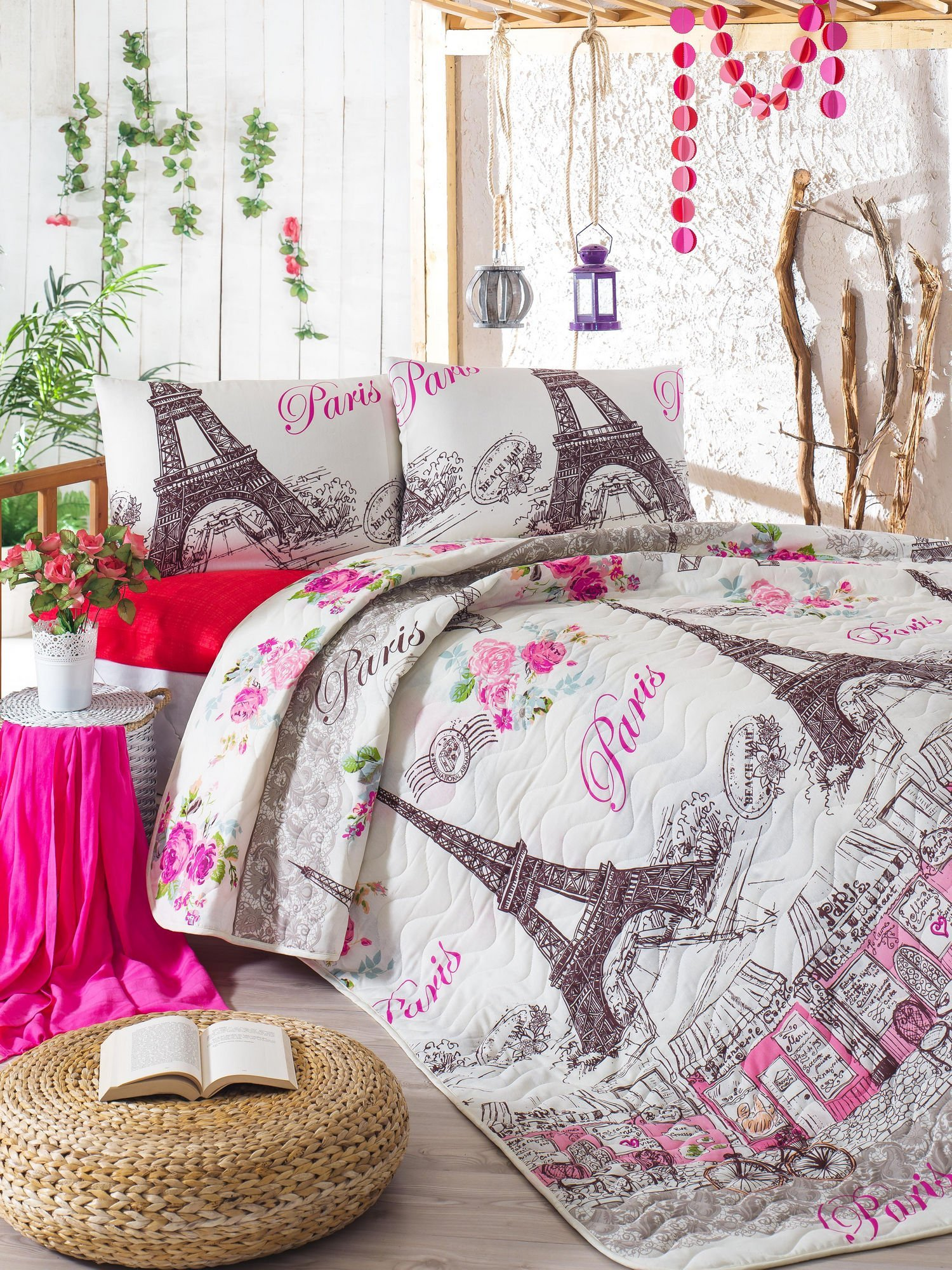 LaModaHome Paris Bedding Set, 65% Cotton 35% Polyester - Eiffel Tower View with Colorful Flowers - Set of 3-100% Fiber Filling Coverlet and 2 Pillowcases for Full Bed
