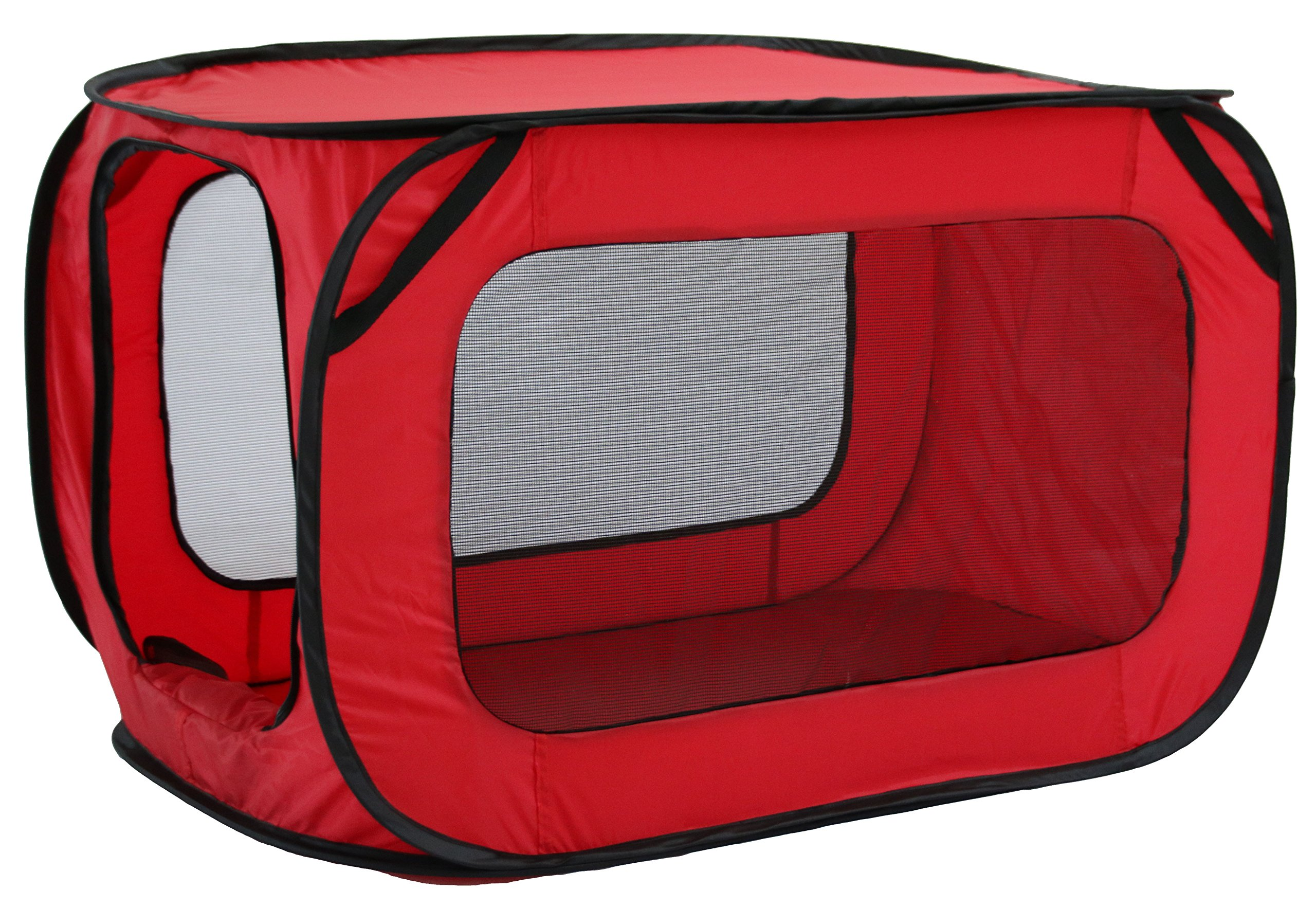 PET LIFE 'Elongated Camping' Rectangular Mesh Wire-Folding Collapsible Travel Lightweight Pet Dog Crate Tent w/ Built-in Bottle Holder, One Size, Red