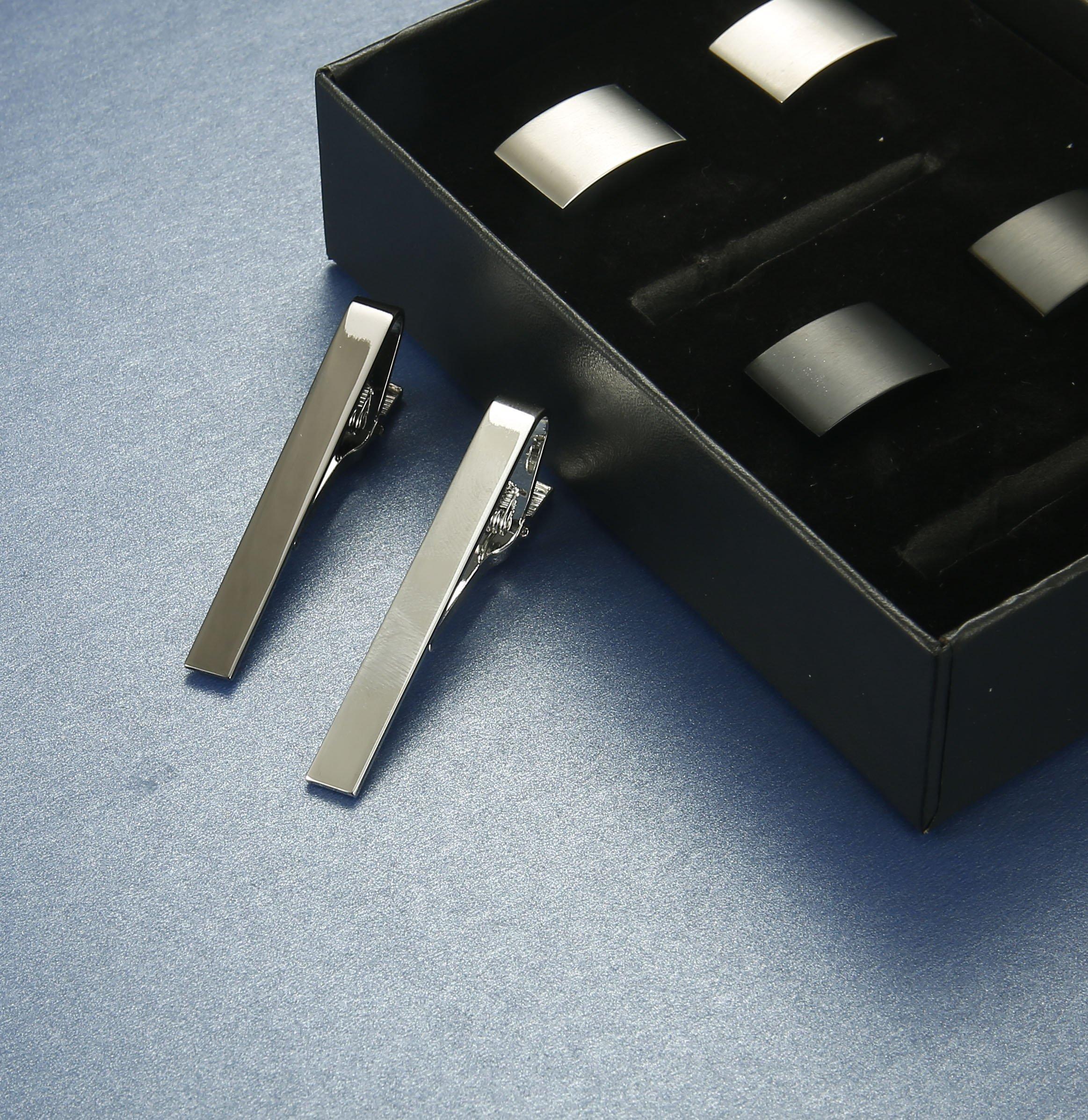 FIBO STEEL Tie Clips Cufflink Set for Men Classic Wedding Cufflinks Mens Dad Birthday Anniversary Gifts by FIBO STEEL (Image #4)