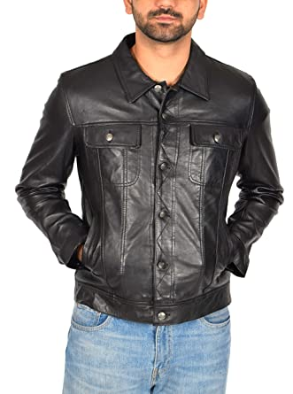 Mens Real Leather 1967 Trucker Jacket Classic Western Top Coat