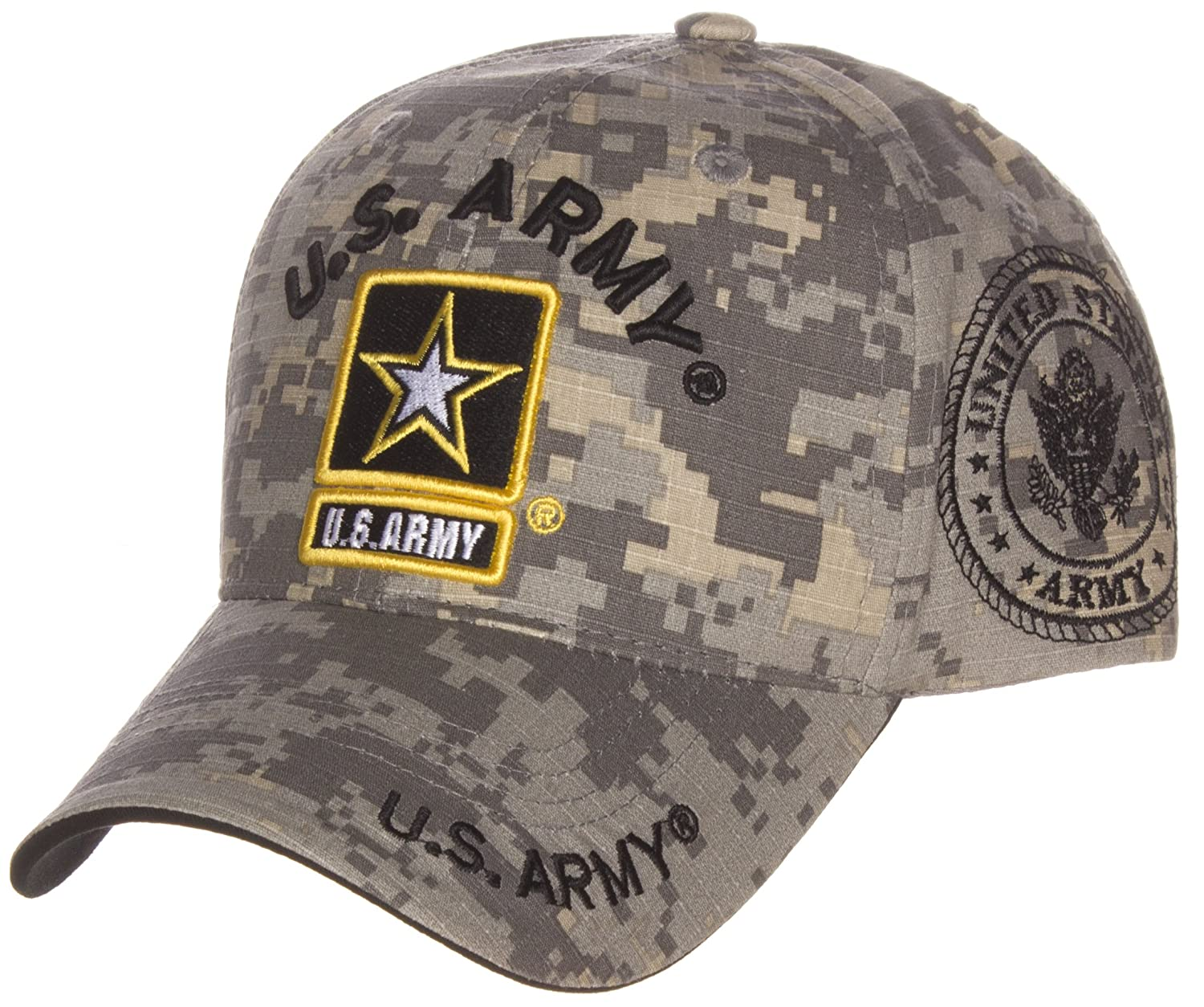 90583b60aa6 Amazon.com  US Army Official License Structured Front Side Back and Visor Embroidered  Hat Cap  Clothing