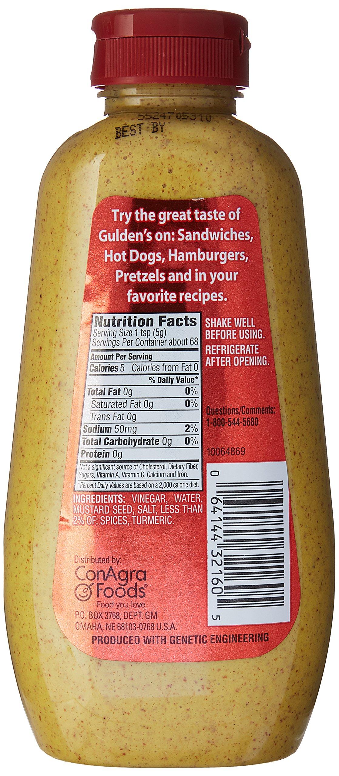 Gulden's Spicy Brown Mustard, 12 Oz 5 Gulden's spicy brown mustard Twelve ounce bottle
