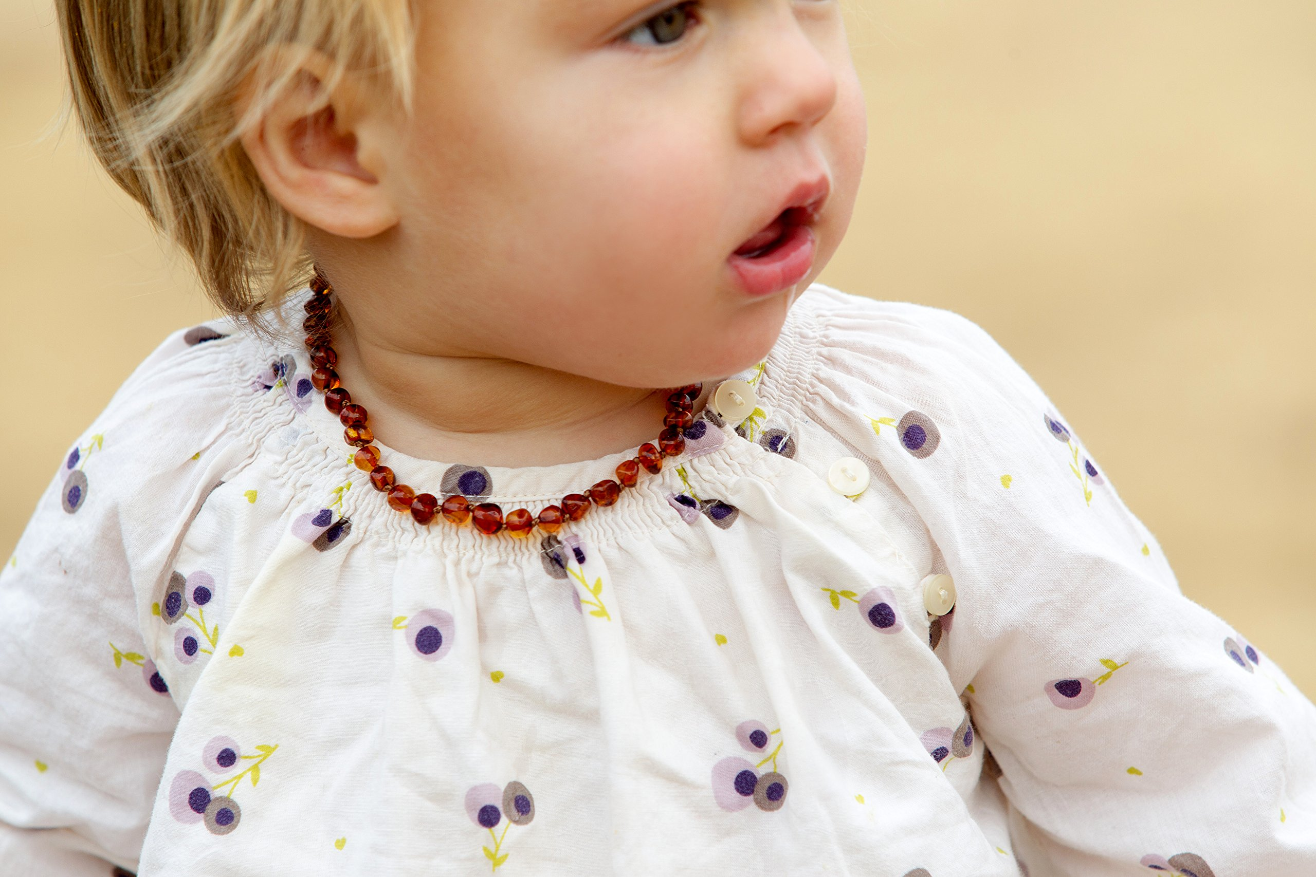 Baltic Amber Teething Necklace For Babies (Unisex) (Cognac) - Anti Flammatory, Drooling & Teething Pain Reduce Properties - Natural Certificated Oval Baltic Jewelry with the Highest Quality Guaranteed by Baltic Wonder (Image #6)