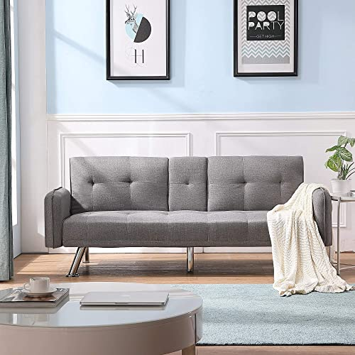 Modern Design Futon Sofa Bed Foldable Reclining Back Sofa Sleeper Folding Lounge Couch Sofa with Cup Holders Light Gray Armrest Style