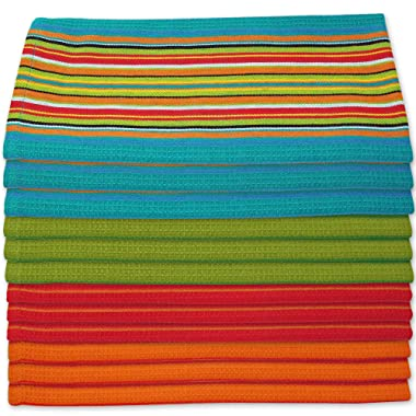 Kitchen Dish Towels Salsa Stripe - 100% Natural Absorbent Cotton (Size 28 x 16 inches) Festive Red, Orange, Green and Blue, 12-Pack