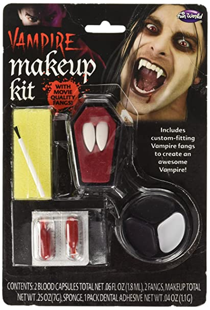 46c98829e8 Amazon.com: Fun World Unisex-Adult's Vampire Fangs and Make-up Kit ...