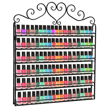 Groovy Mygift Metal Nail Polish Mountable 6 Tier Organizer Display Rack Black Interior Design Ideas Tzicisoteloinfo