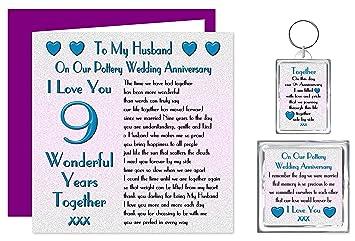 My husband 9th wedding anniversary gift set card keyring fridge my husband 9th wedding anniversary gift set card keyring fridge magnet present negle Choice Image