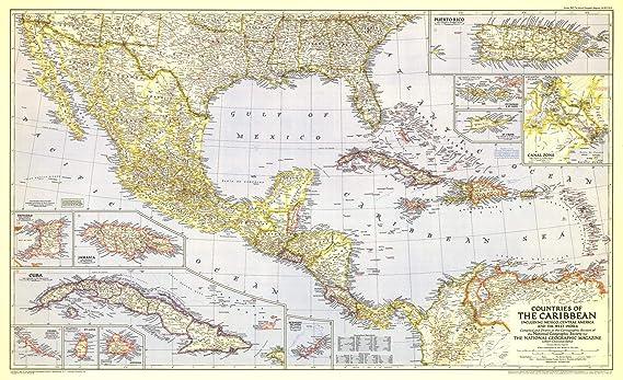 National Geographic: Países del Caribe 1947 - Serie histórica de mapas de pared - 41 x 25 pulgadas - Impresión de calidad artística: Amazon.es: Amazon.es